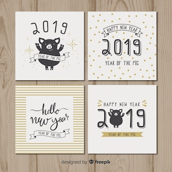 Nieuwjaarskaart varken kaarten pack