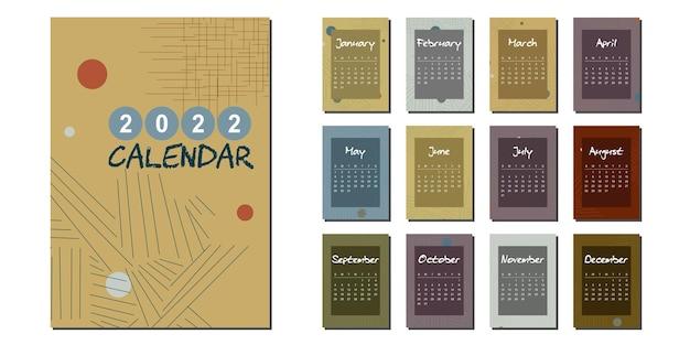 Nieuwjaarskalender 2022 in moderne abstracte stijl