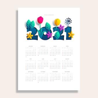 Nieuwjaarskalender met papier gesneden stijl floral element