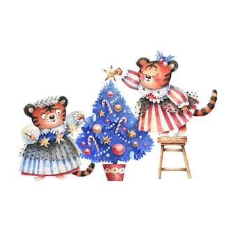 Nieuwjaarskerstillustratie in aquarel met tijgers in carnavalskostuums