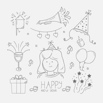 Nieuwjaarskrabbelachtergrond in zeer fijne tekeningen