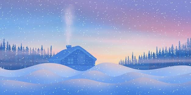 Nieuwjaarslandschap, winteravond, een dorp in een besneeuwd bos