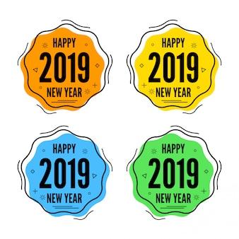 Nieuwjaarsmemphis verkoopbannerinzameling met moderne kleuren