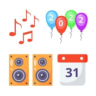 Nieuwjaarsmuziek party elements pack-collecties.