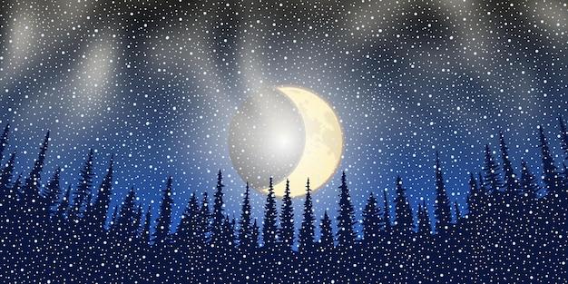 Nieuwjaarsnacht, bomen tegen de achtergrond van de donkere hemel met de maan, vectorillustratie