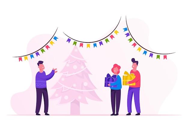 Nieuwjaarsnacht. vader geeft geschenken aan kinderen. cartoon vlakke afbeelding