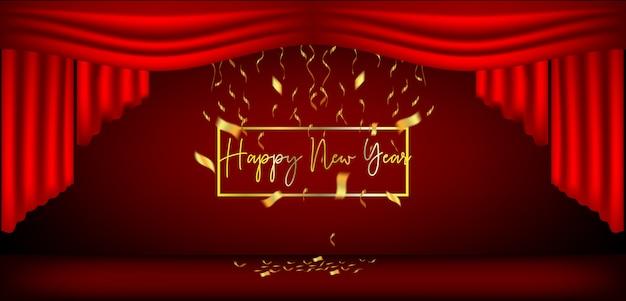 Nieuwjaarsontwerp rode gordijnen en linten