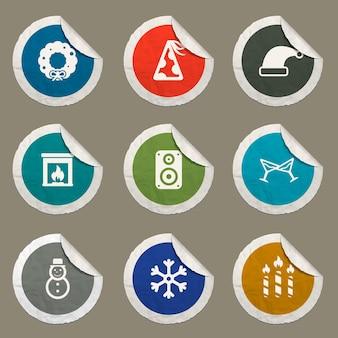 Nieuwjaarspictogrammen ingesteld voor websites en gebruikersinterface