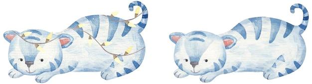 Nieuwjaarsset met blauwe tijgers 2022, kinderachtige aquarelillustratie