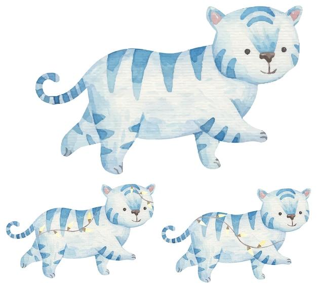 Nieuwjaarsset met blauwe tijgers in lichten 2022, aquarelillustratie voor kinderen