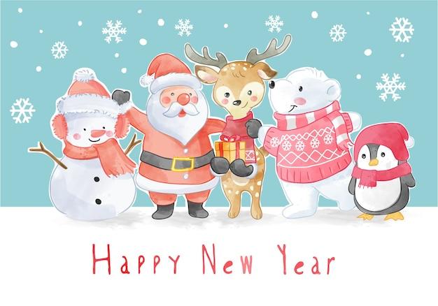 Nieuwjaarsslogan met illustratie van kerstmisbemanningen