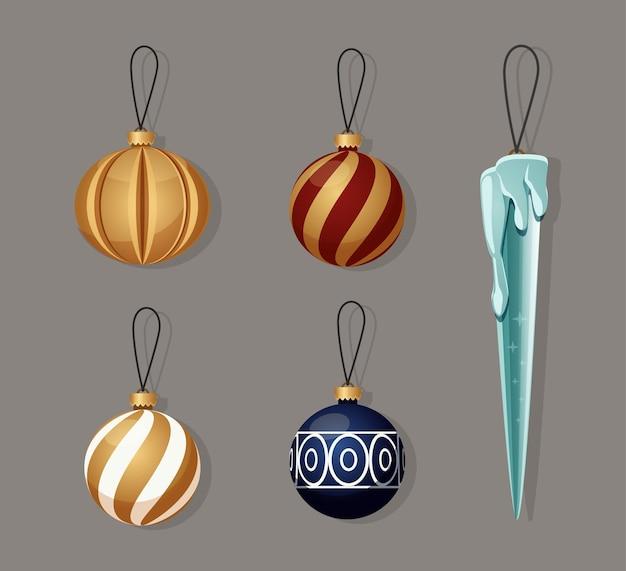 Nieuwjaarsspeelgoedpakket vectorset glazen speelgoed voor nieuwjaar decoratie-elementen voor wintervakanties