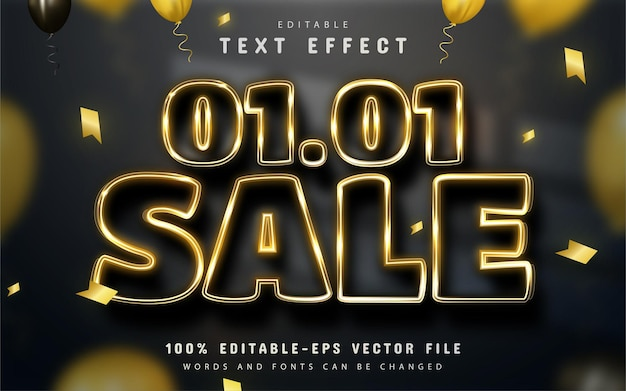 Nieuwjaarsuitverkoop 01 01 goud bewerkbaar teksteffect