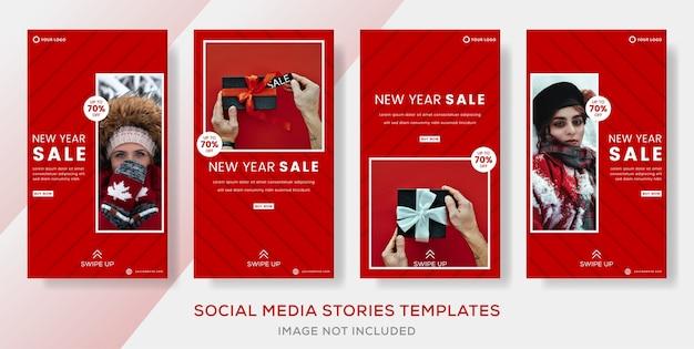 Nieuwjaarsuitverkoop kortingsbannerpremie voor het plaatsen van verhalen op sociale media