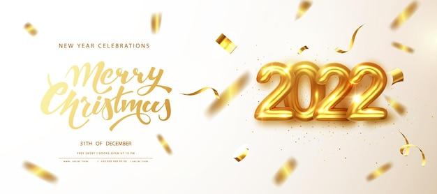 Nieuwjaarsvieringen in 2022. gouden cijfers dateren 2022 met vallende gouden glinsterende confetti van wenskaart. vrolijk kerstfeest banner