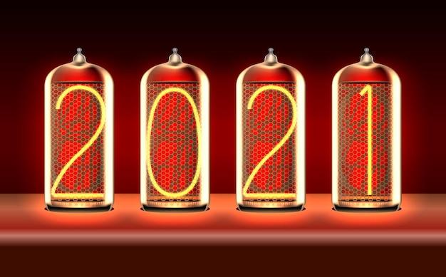 Nieuwjaarswenskaart met 2021 verlicht in retro-stijl nixie tube-indicatielampjes, inclusief transparantie. vector illustratie.