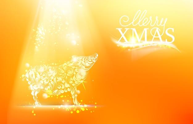 Nieuwjaarsymbool van varken met fakkels en vonken.,