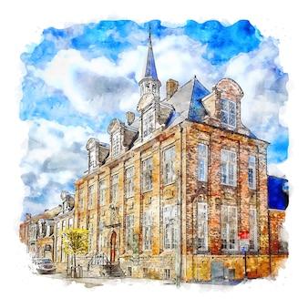 Nieuwpoort belgië aquarel schets hand getekende illustratie