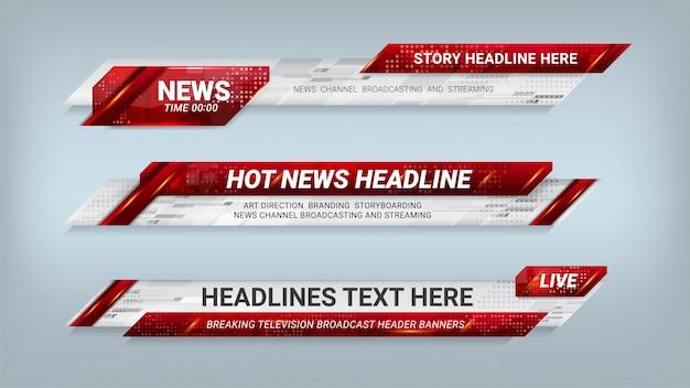 Nieuws lower thirds banner voor televisie