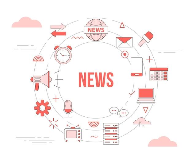 Nieuws media concept met pictogrammenset sjabloon banner