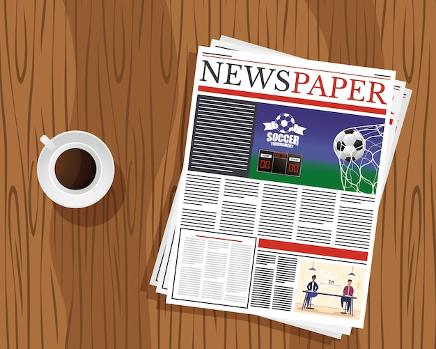 Nieuws papier communicatie en koffiekopje in houten tafel