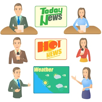 Nieuws presentator concept set