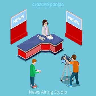 Nieuws uitzending studio online uitzending concept.