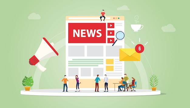 Nieuws update concept met teammensen en website pagina ontwerp en meldingen updates symbool