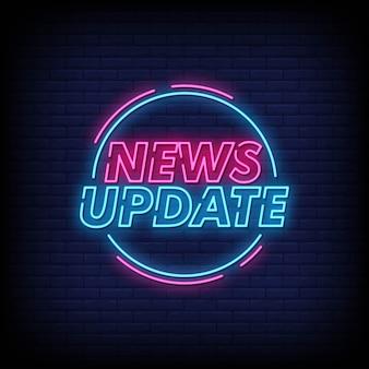 Nieuws update neon tekens stijl tekst vector