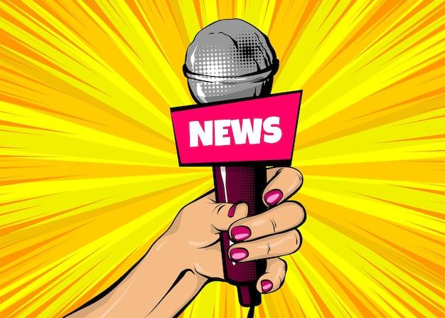 Nieuws zanger komische tekst tekstballon vrouw pop-art stijl mode meisje hand houden microfoon cartoon