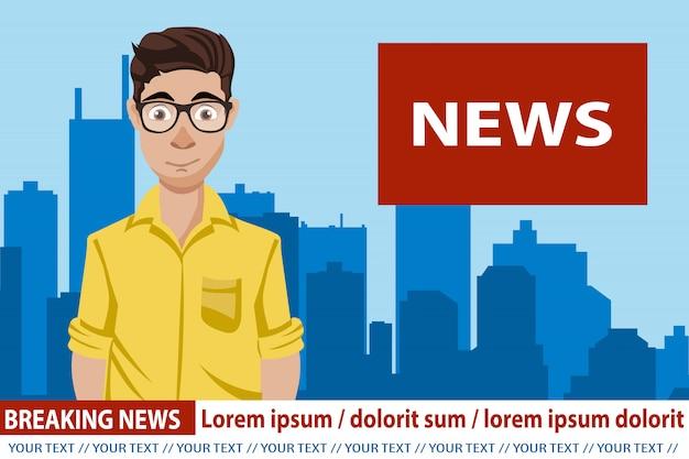 Nieuwsanker die het nieuws uitzendt