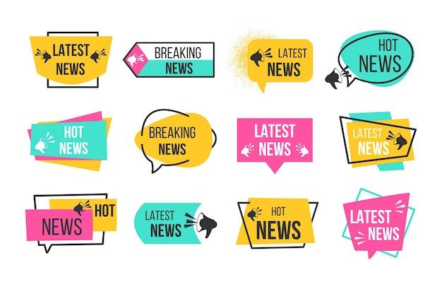 Nieuwsbadges. kranten en tijdschriften die de laatste en hete nieuwsstickers remmen.