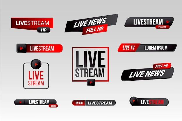 Nieuwsbanners stijl live stream