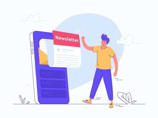 Nieuwsbrief abonnement online op mobiele app. platte vectorillustratie van glimlachende man die een grote smartphone goedkeurt met een nieuwe maandelijkse brief die uit het scherm vliegt om up-to-date te zijn en nieuws en updates te krijgen