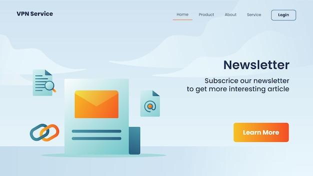 Nieuwsbriefcampagne voor de bestemmingspagina van de startpagina van de website van de website