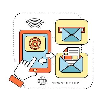 Nieuwsbriefconcept: klaar om een e-mail te versturen in lijnstijl