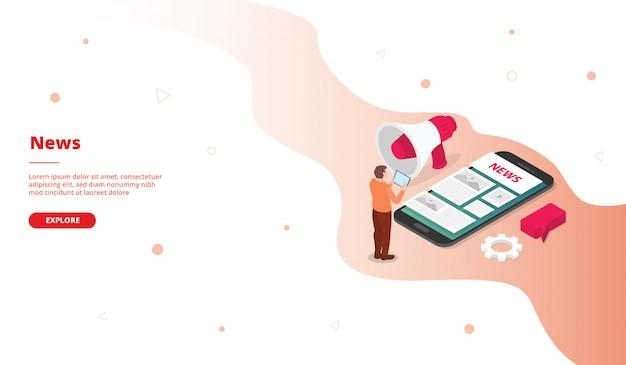 Nieuwscampagne voor de startpagina van de websitemalplaatje-homepage met isometrische vlakke stijl