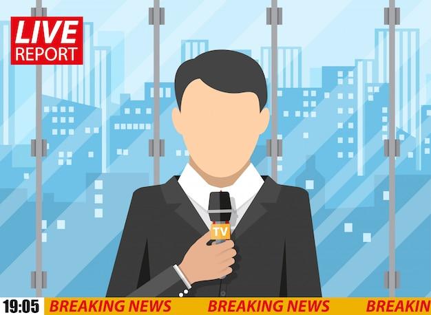 Nieuwsverslaggever mannen met microfoon, kantoorgebouw