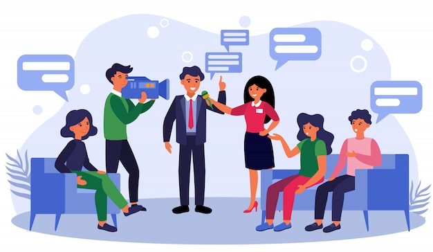 Nieuwsverslaggevers die zakenman of politicus interviewen