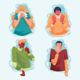 Niezen en hoesten mensen tekenset illustratie
