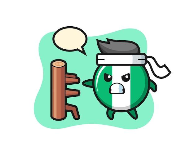 Nigeria vlag badge cartoon afbeelding als een karate-jager, schattig stijlontwerp voor t-shirt, sticker, logo-element