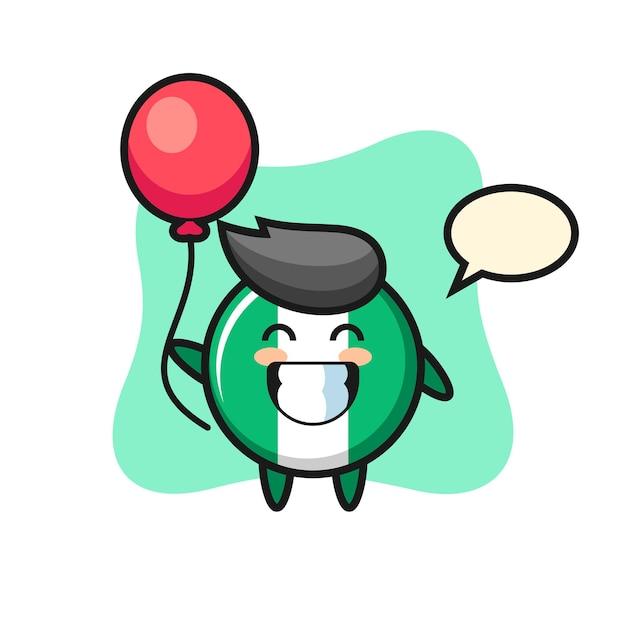 Nigeria vlag badge mascotte illustratie speelt ballon, schattig stijl ontwerp voor t-shirt, sticker, logo-element
