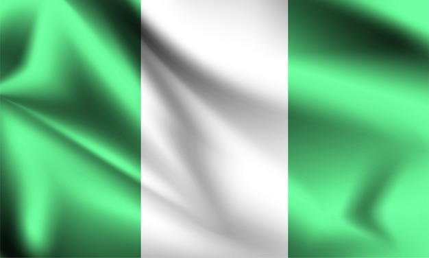 Nigeria vlag waait in de wind.