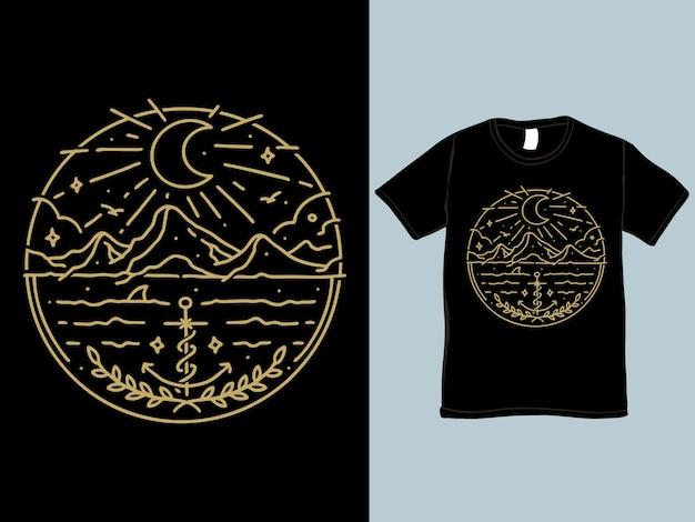 Night at the sea monoline t-shirt en illustratie