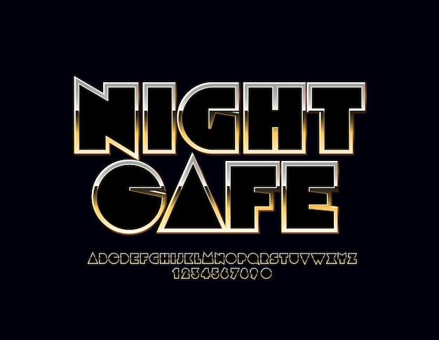 Night cafe modern set van gouden alfabetletters en cijfers. abstracte metalen lettertype