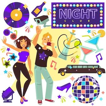 Night club life entertainment set met mensen