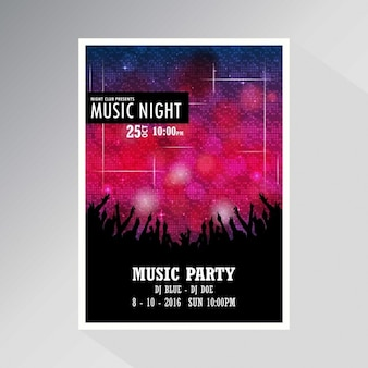 Night disco party template achtergrond van de affiche
