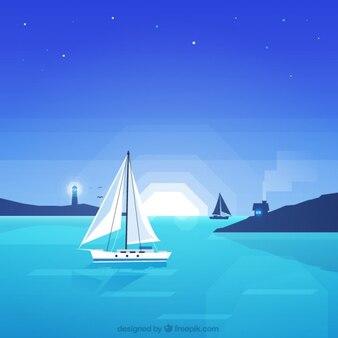 Night marine landschap