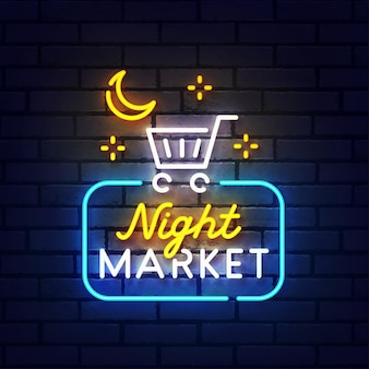 Night market neon teken. night market logo neon, embleem