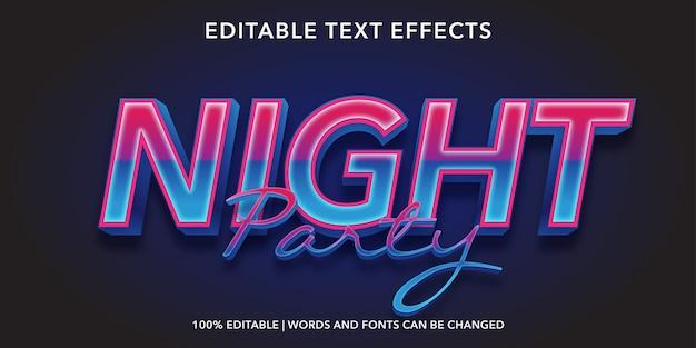 Night party bewerkbaar teksteffect